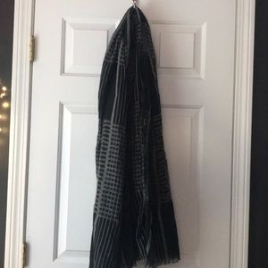 Oversized black and gray blanket scarf